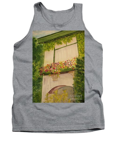 Tank Top featuring the painting Overlooking Butchard Gardens  by Vicki  Housel