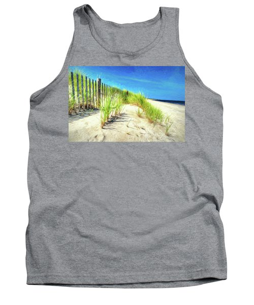 Tank Top featuring the photograph Painterly  Waterfront Dune Grass by Gary Slawsky