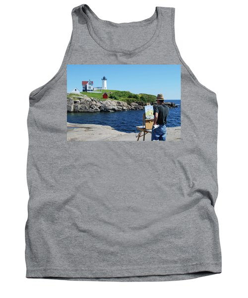 Painting Nubble Lighthouse Tank Top