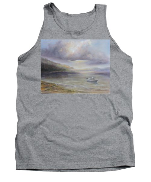 Beach By Sruce Run Lake In New Jersey At Sunrise With A Boat Tank Top