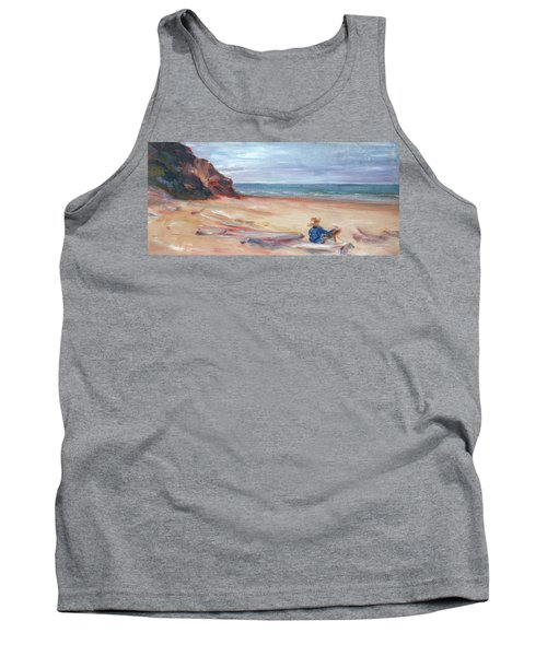 Painting The Coast - Scenic Landscape With Figure Tank Top