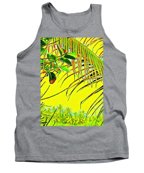 Palm Fragment In Yellow Tank Top