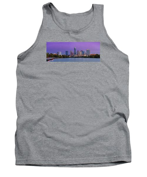 Panorama Of Downtown Austin Skyline From The Lady Bird Lake Boardwalk Trail - Texas Hill Country Tank Top