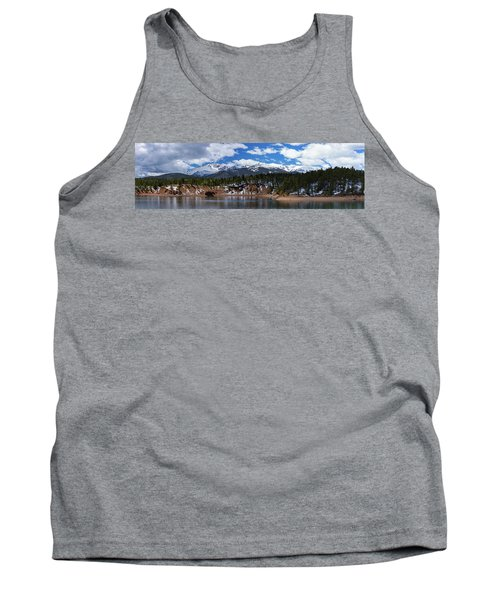 Panorama Of South Catamount Reservoir With Pike's Peak Covered I Tank Top