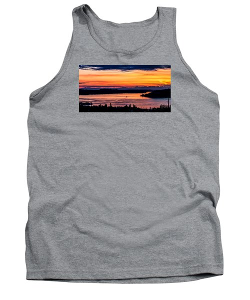 Panoramic Sunset Over Hail Passage E Series On The Puget Sound Tank Top