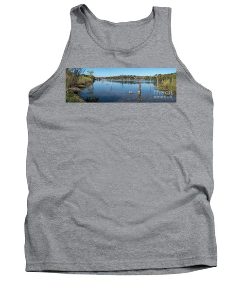 Panoramic View Of Large Lake With Grass On The Shore Tank Top