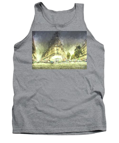 Tank Top featuring the mixed media Paris Streets by Jim  Hatch
