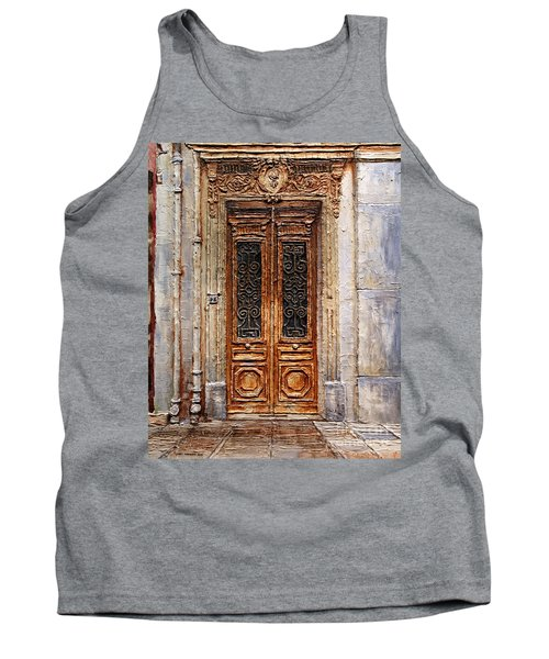 Tank Top featuring the painting Parisian Door No.7 by Joey Agbayani