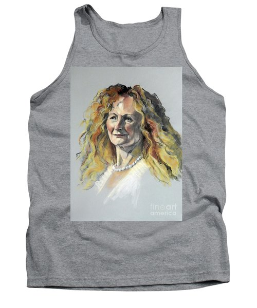 Pastel Portrait Of Woman With Frizzy Hair Tank Top