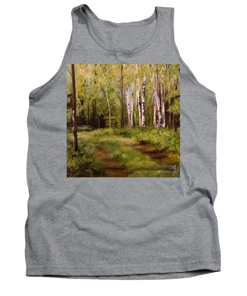 Tank Top featuring the painting Path To The Birches by Laurie Rohner