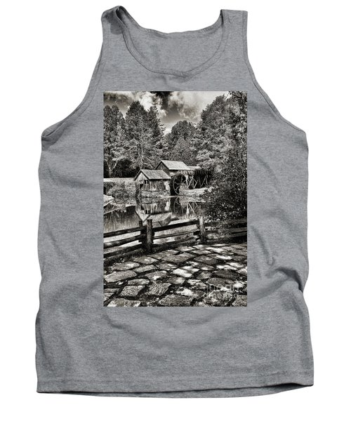 Pathway To Marby Mill In Black And White Tank Top by Paul Ward