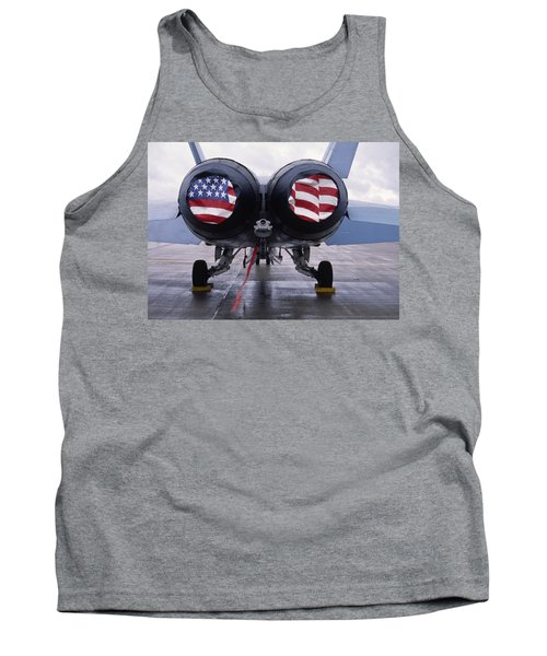 Patriotic American Flag Covers On The Rear Of An American F/a-18 Hornet Fighter Combat Jet Aircraft. Tank Top