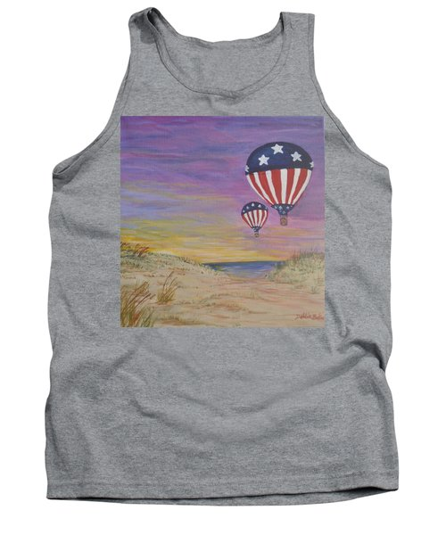 Tank Top featuring the painting Patriotic Balloons by Debbie Baker