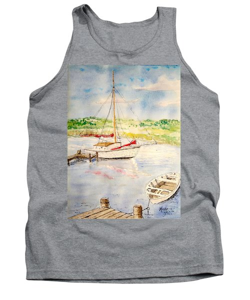 Tank Top featuring the painting Peaceful Harbor by Marilyn Zalatan