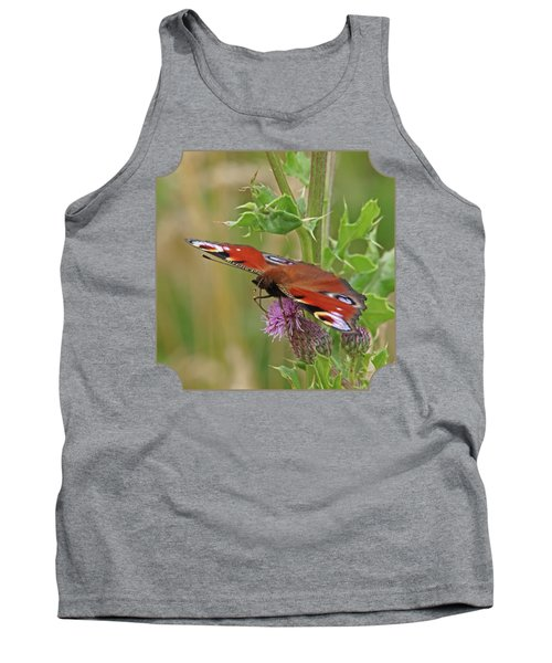 Peacock Butterfly On Thistle Square Tank Top by Gill Billington