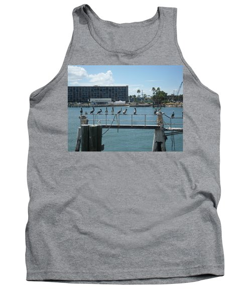 Pelicans In A Row Tank Top by Val Oconnor