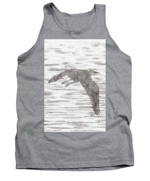 Pencil Sketching The Great Blue Heron Is Flying At Malibu Lagoo Tank Top