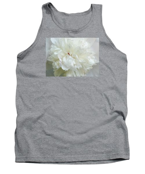 Peony In White Tank Top