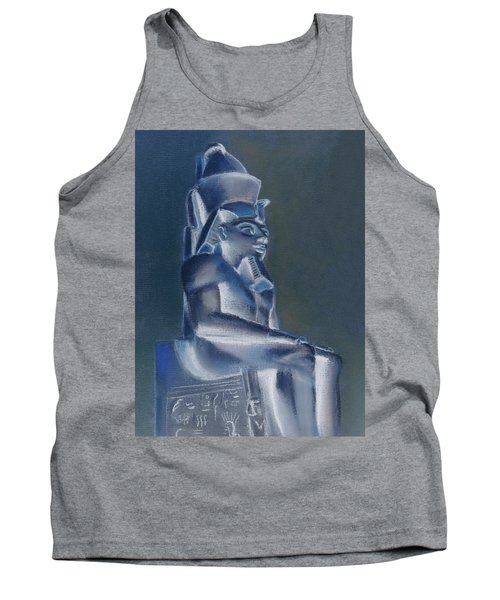 Tank Top featuring the mixed media Pharaoh In Blue by Elizabeth Lock