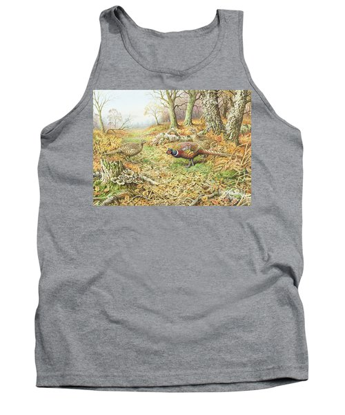 Pheasants With Blue Tits Tank Top by Carl Donner