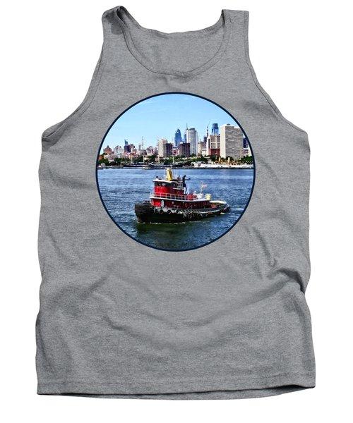 Philadelphia Pa - Tugboat By Philadelphia Skyline Tank Top by Susan Savad