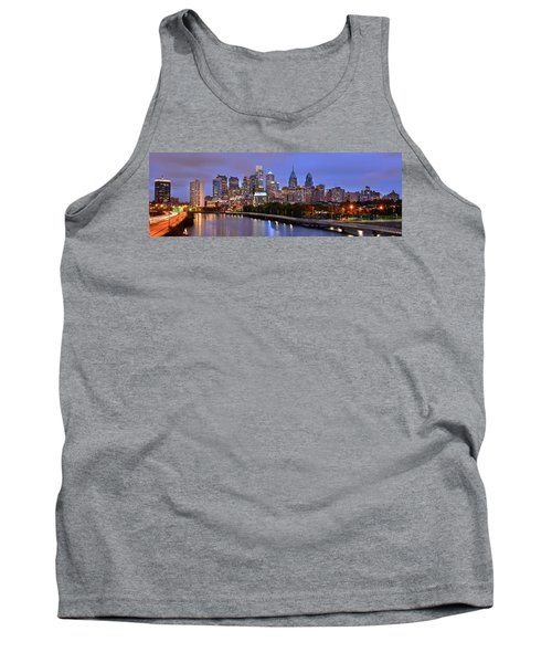 Philadelphia Philly Skyline At Dusk From Near South Color Panorama Tank Top by Jon Holiday