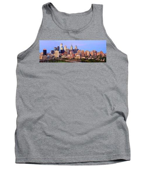 Philadelphia Skyline At Dusk Sunset Pano Tank Top by Jon Holiday