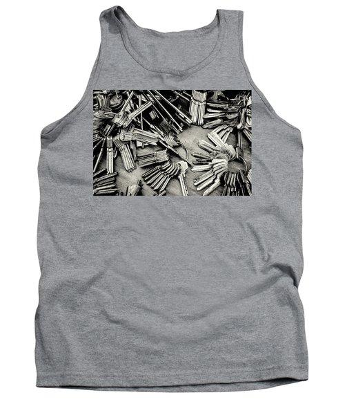 Piles Of Blank Keys In Monochrome Tank Top