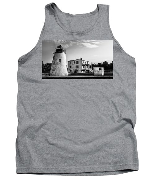 Piney Point Lighthouse - Mayland - Black And White Tank Top