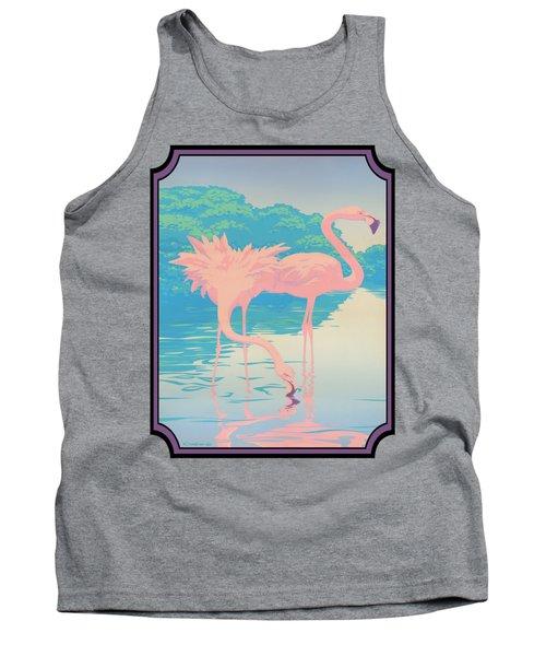 Pink Flamingos Abstract Retro Pop Art Nouveau Tropical Bird Art 80s 1980s Florida Decor Tank Top