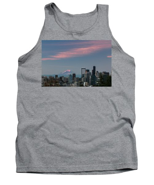 Pink Highlights Over Seattle-mt. Rainier Tank Top by E Faithe Lester