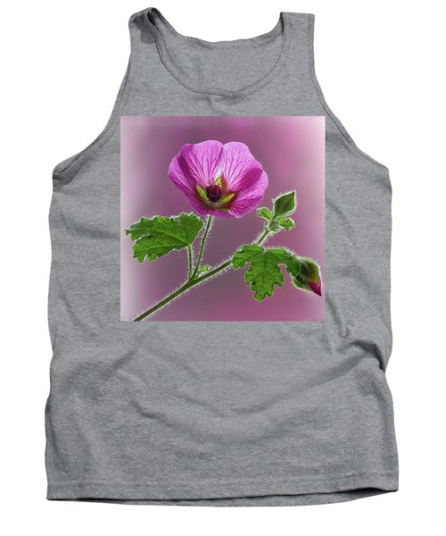 Pink Mallow Flower Tank Top