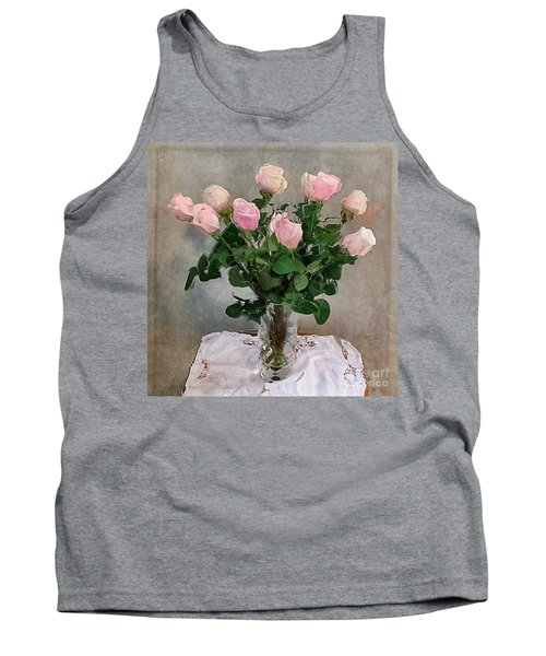 Tank Top featuring the digital art Pink Roses by Alexis Rotella
