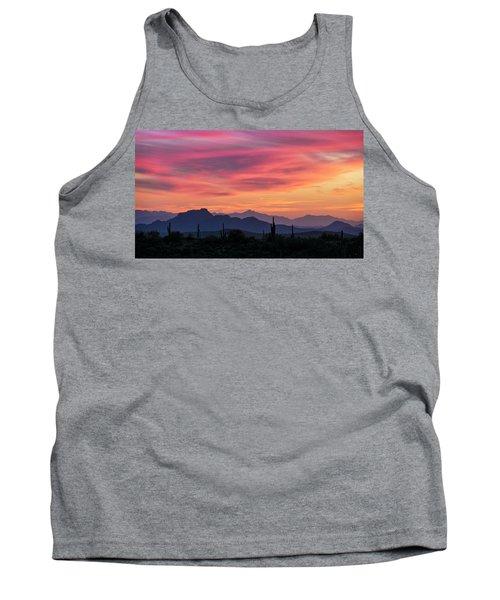 Tank Top featuring the photograph Pink Silhouette Sunset  by Saija Lehtonen