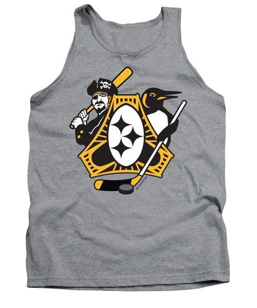 Pittsburgh-three Rivers Roar Sports Fan Crest Tank Top