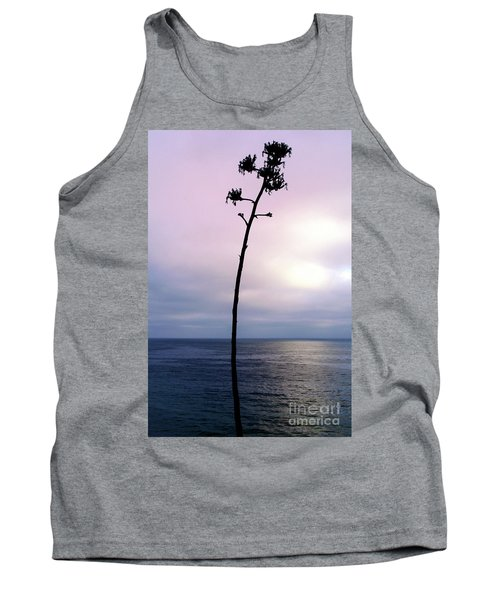 Tank Top featuring the photograph Plant Silhouette Over Ocean by Mariola Bitner