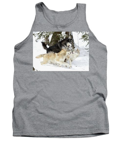 Playful Wolves Winter Style Tank Top