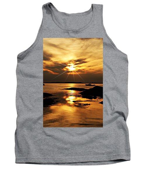Plum Cove Beach Sunset E Tank Top by Joe Faherty