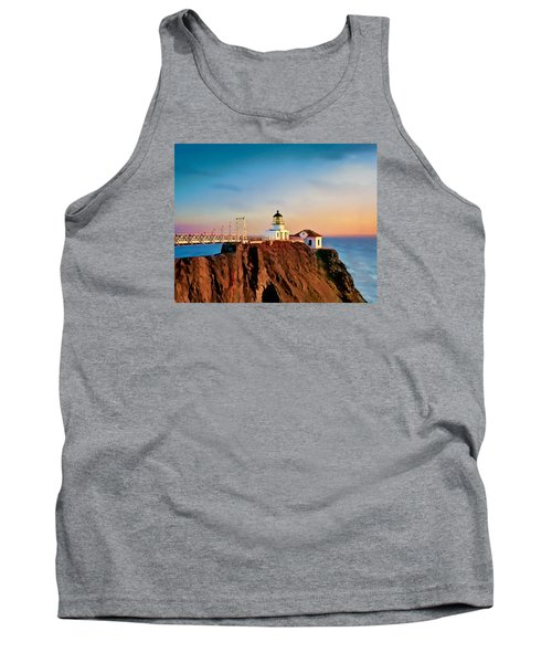 Tank Top featuring the painting Point Bonita Lighthouse by Douglas MooreZart