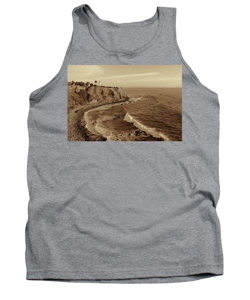 Point Vicente Lighthouse Palos Verdes California - Sepia Rendition Tank Top