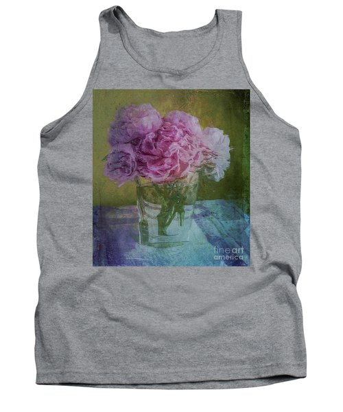 Tank Top featuring the digital art Polite Peonies by Alexis Rotella