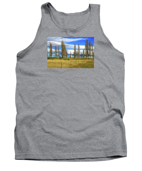 Poplars,fence And Grasses Tank Top