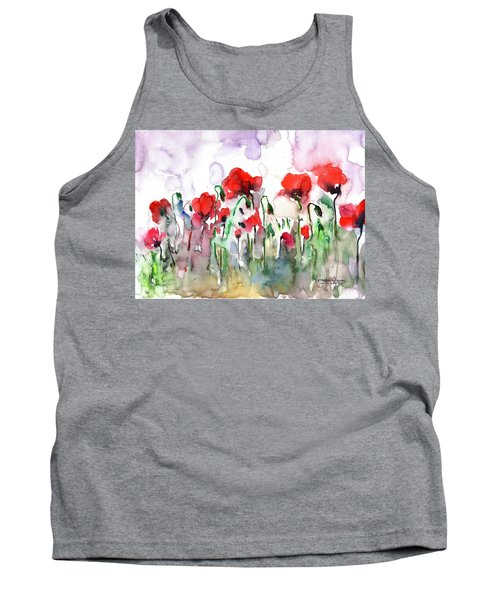 Tank Top featuring the painting Poppies by Faruk Koksal