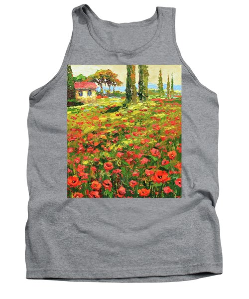 Tank Top featuring the painting Poppies Near The Village by Dmitry Spiros