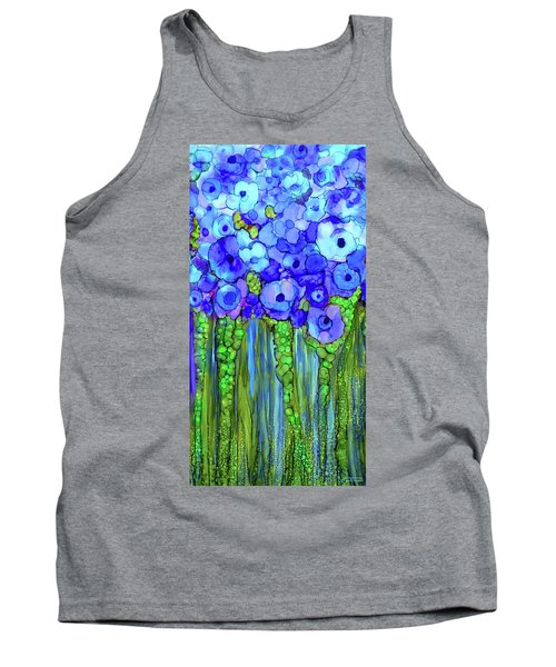 Tank Top featuring the mixed media Poppy Bloomies 2 - Blue by Carol Cavalaris