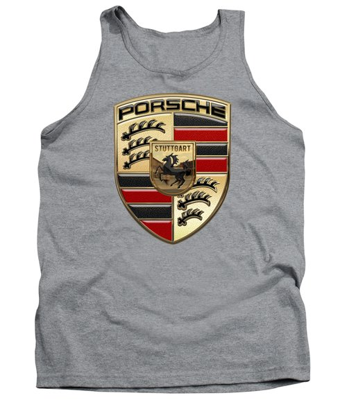 Porsche - 3d Badge On Yellow Tank Top by Serge Averbukh