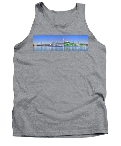 Tank Top featuring the photograph Port Of Los Angeles - Panoramic by Jim Carrell