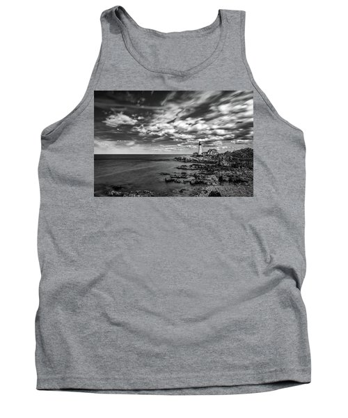 Portland Head Light In Black And White Tank Top