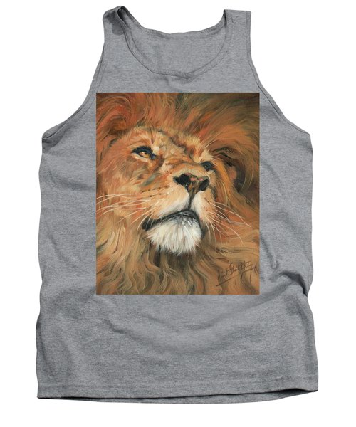 Tank Top featuring the painting Portrait Of A Lion by David Stribbling