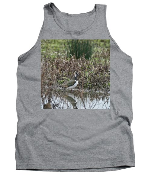 Portrait Of Beautiful Lapwing Bird Seen Through Reeds On Side Of Tank Top by Matthew Gibson